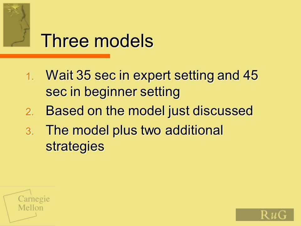 Three models 1. Wait 35 sec in expert setting and 45 sec in beginner setting 2.