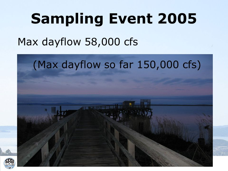 Sampling Event 2005 Max dayflow 58,000 cfs (Max dayflow so far 150,000 cfs)