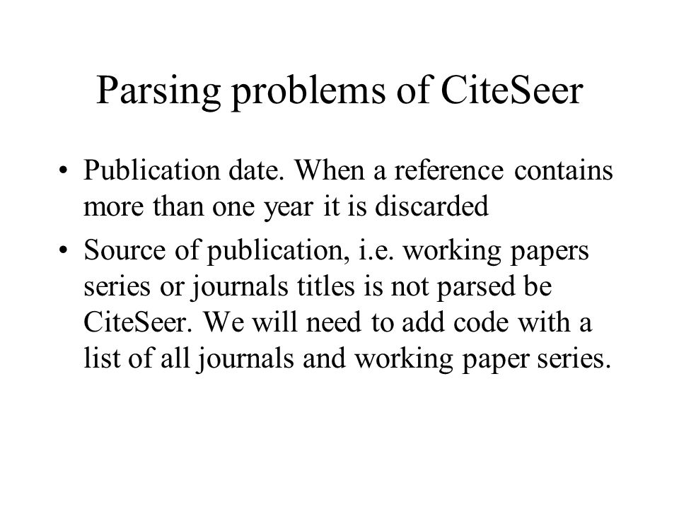 To do Study of citation patterns Use of data in user services Use of data in logging and registration services