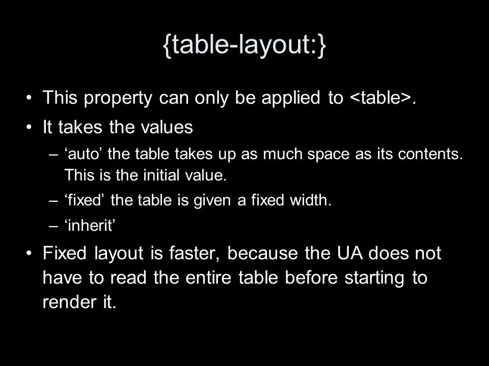 {table-layout:} This property can only be applied to. It takes the values –auto the table takes up as much space as its contents. This is the initial