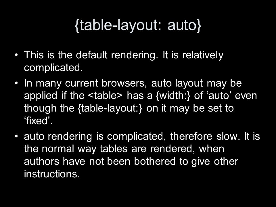 {table-layout: auto} This is the default rendering. It is relatively complicated. In many current browsers, auto layout may be applied if the has a {w
