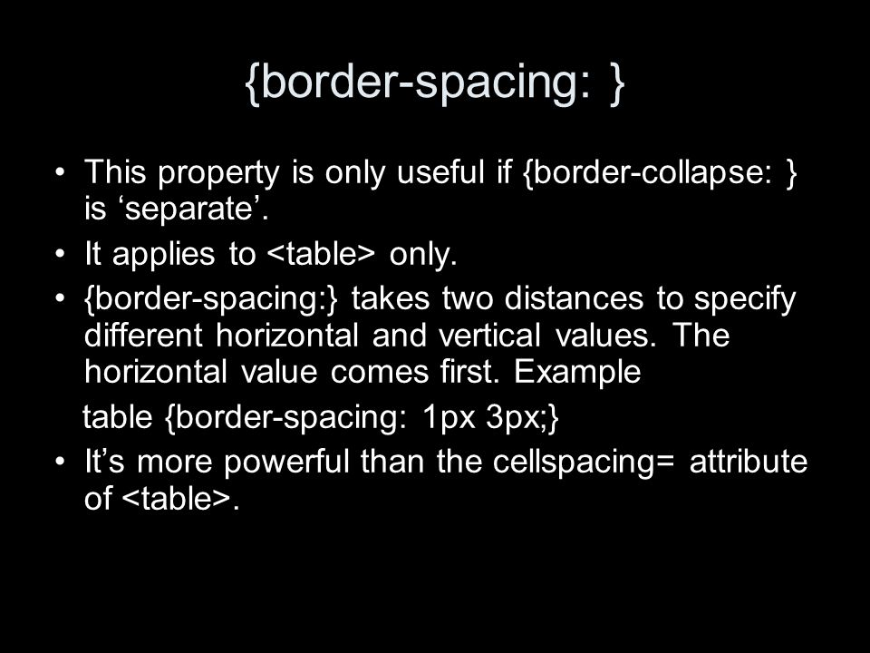 {empty-cells: } This property is only useful if {border-collapse: } is separate.