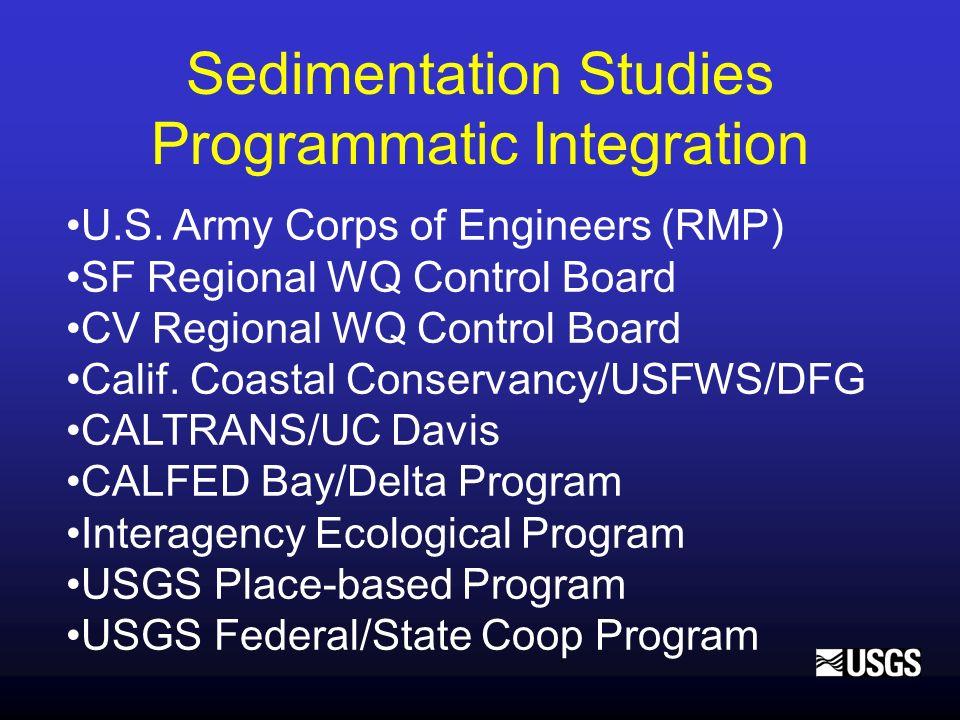 Sedimentation Studies Programmatic Integration U.S. Army Corps of Engineers (RMP) SF Regional WQ Control Board CV Regional WQ Control Board Calif. Coa