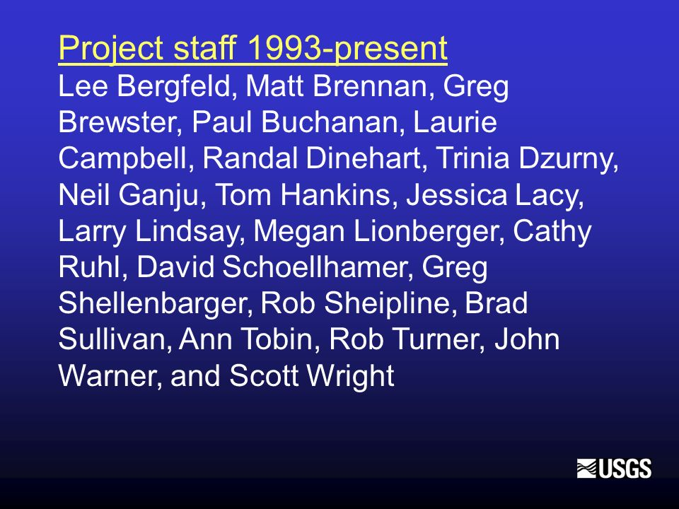Project staff 1993-present Lee Bergfeld, Matt Brennan, Greg Brewster, Paul Buchanan, Laurie Campbell, Randal Dinehart, Trinia Dzurny, Neil Ganju, Tom