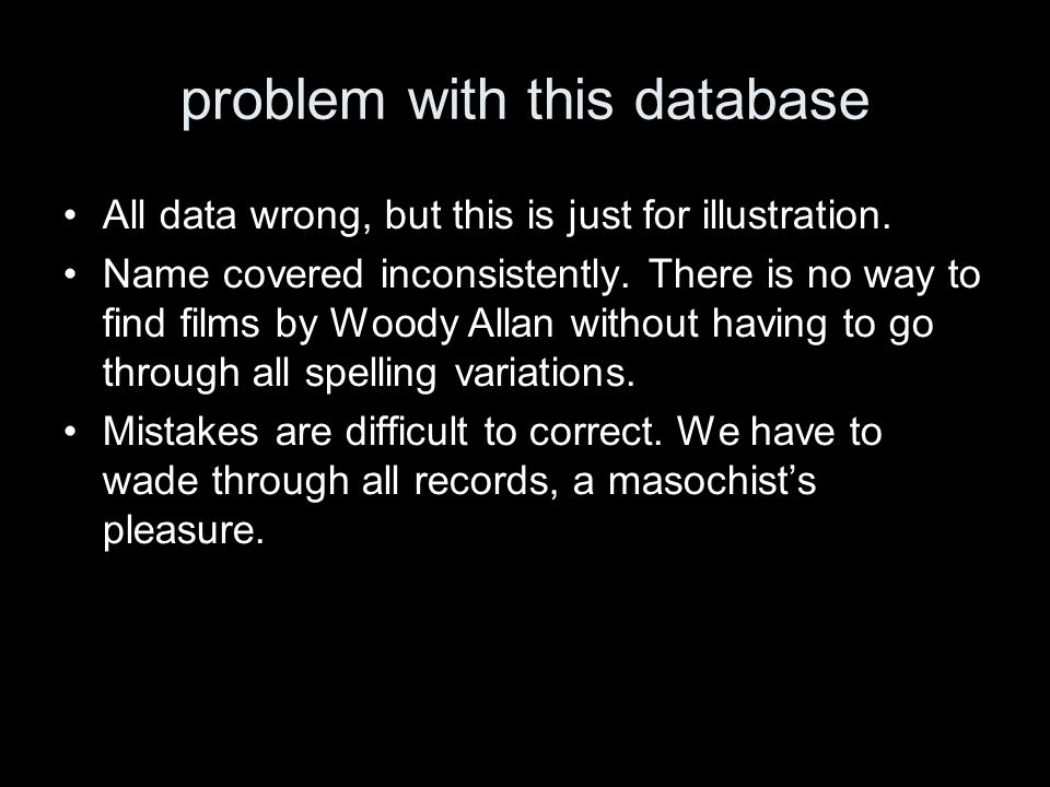 problem with this database All data wrong, but this is just for illustration.