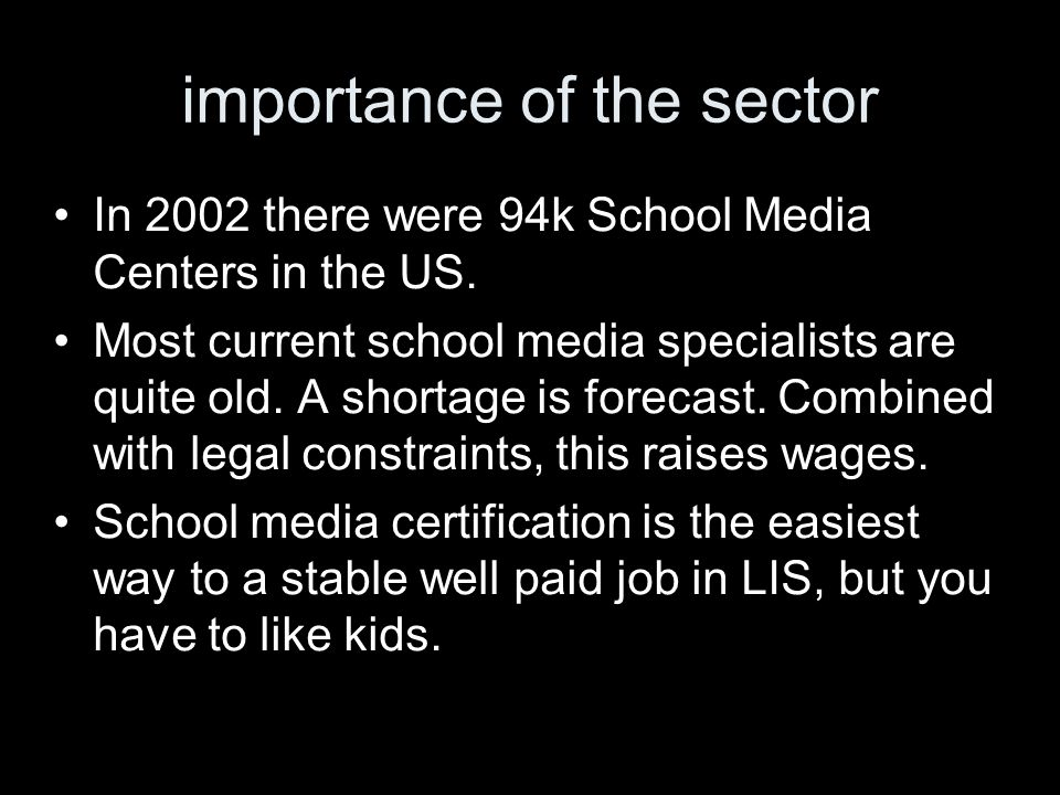 importance of the sector In 2002 there were 94k School Media Centers in the US.