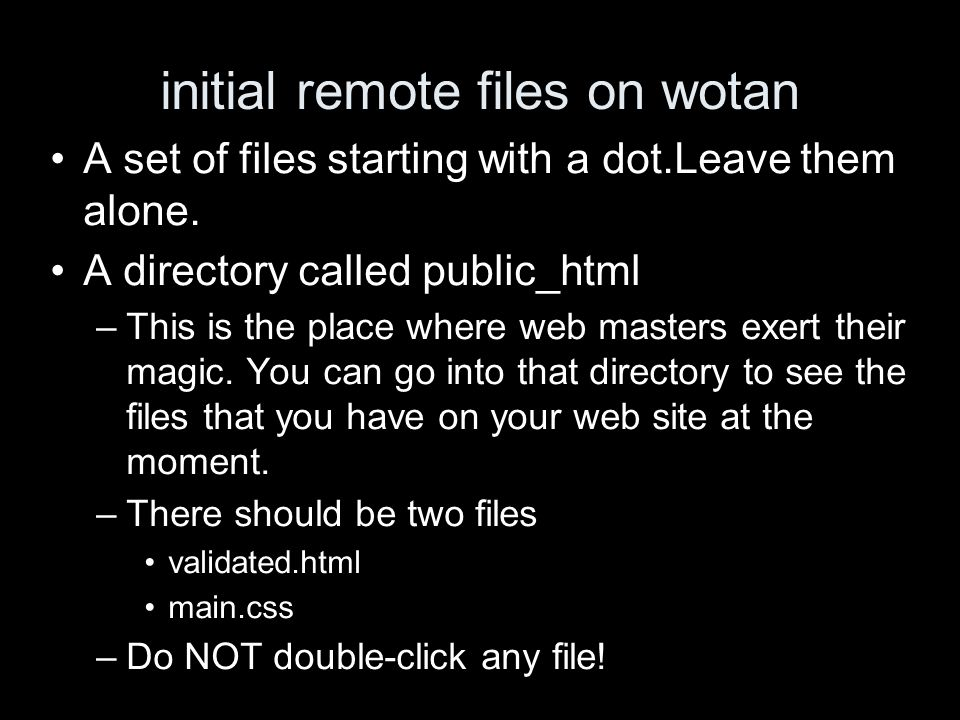 initial remote files on wotan A set of files starting with a dot.Leave them alone.