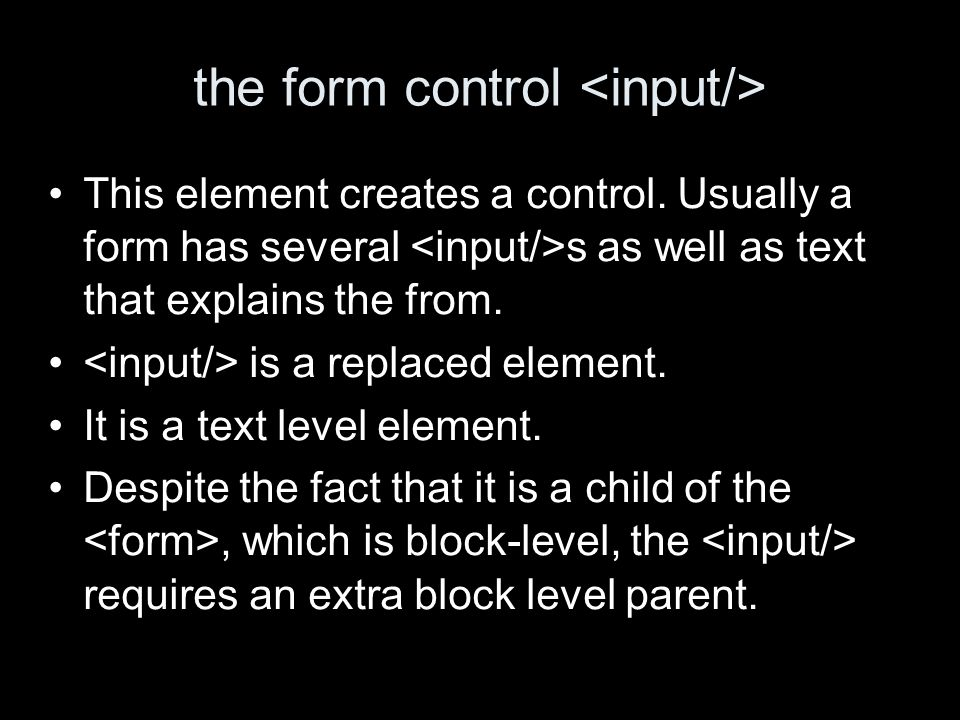 the form control This element creates a control.