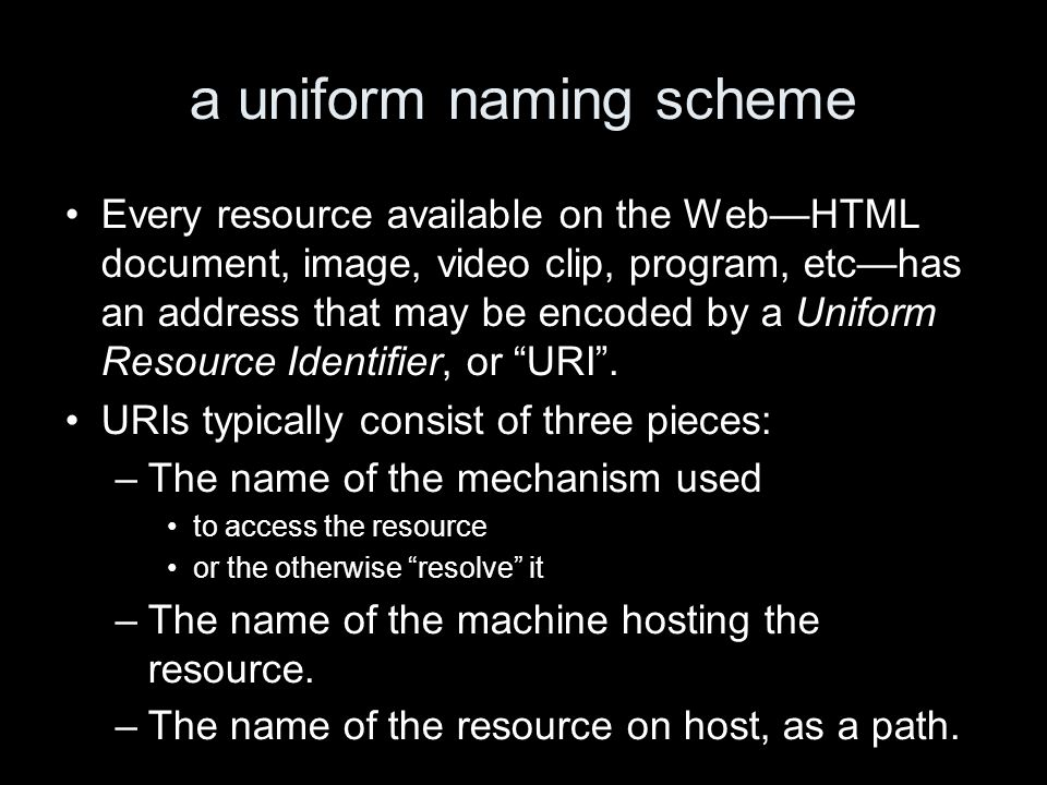a uniform naming scheme Every resource available on the WebHTML document, image, video clip, program, etchas an address that may be encoded by a Unifo