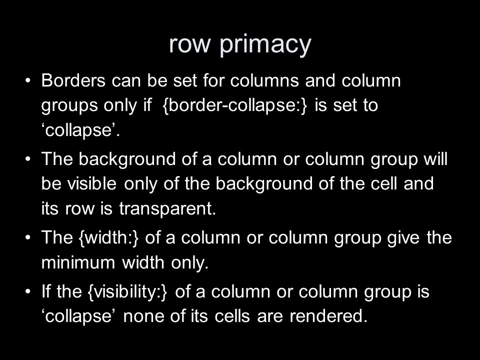 row primacy Borders can be set for columns and column groups only if {border-collapse:} is set to collapse.