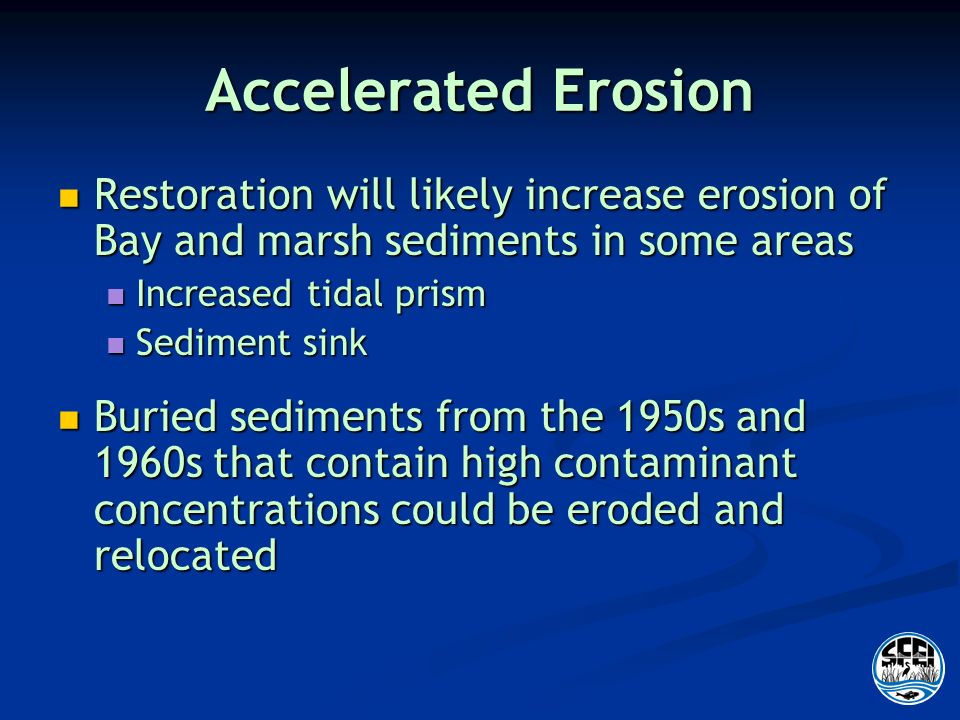 Accelerated Erosion Restoration will likely increase erosion of Bay and marsh sediments in some areas Restoration will likely increase erosion of Bay