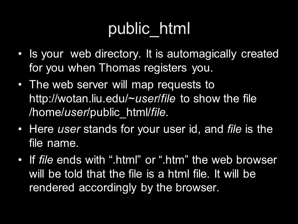 public_html Is your web directory. It is automagically created for you when Thomas registers you.