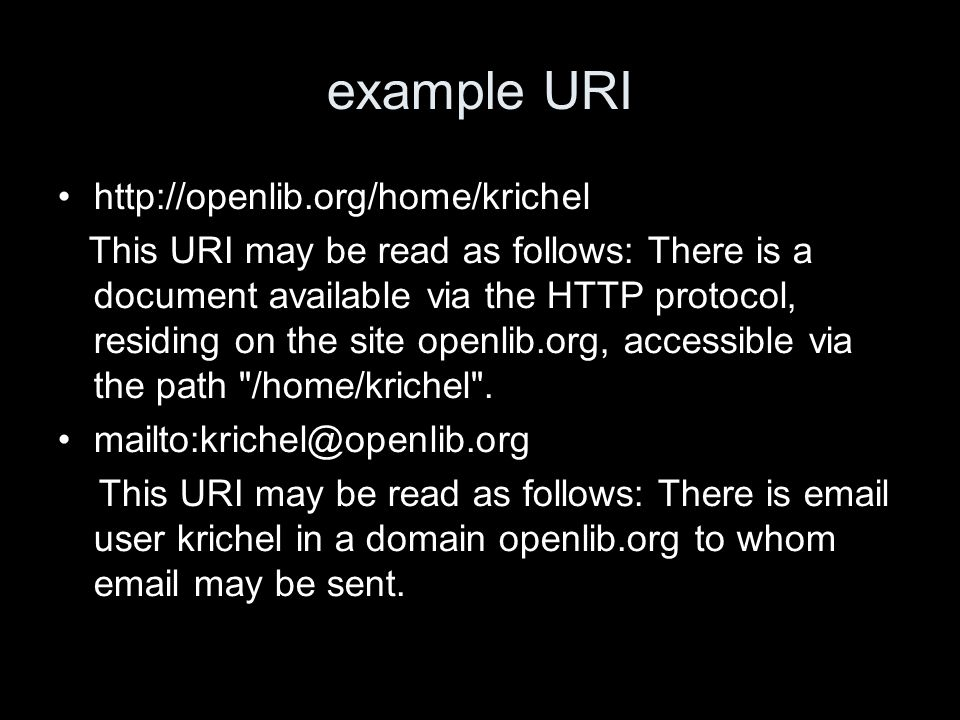 example URI   This URI may be read as follows: There is a document available via the HTTP protocol, residing on the site openlib.org, accessible via the path /home/krichel .