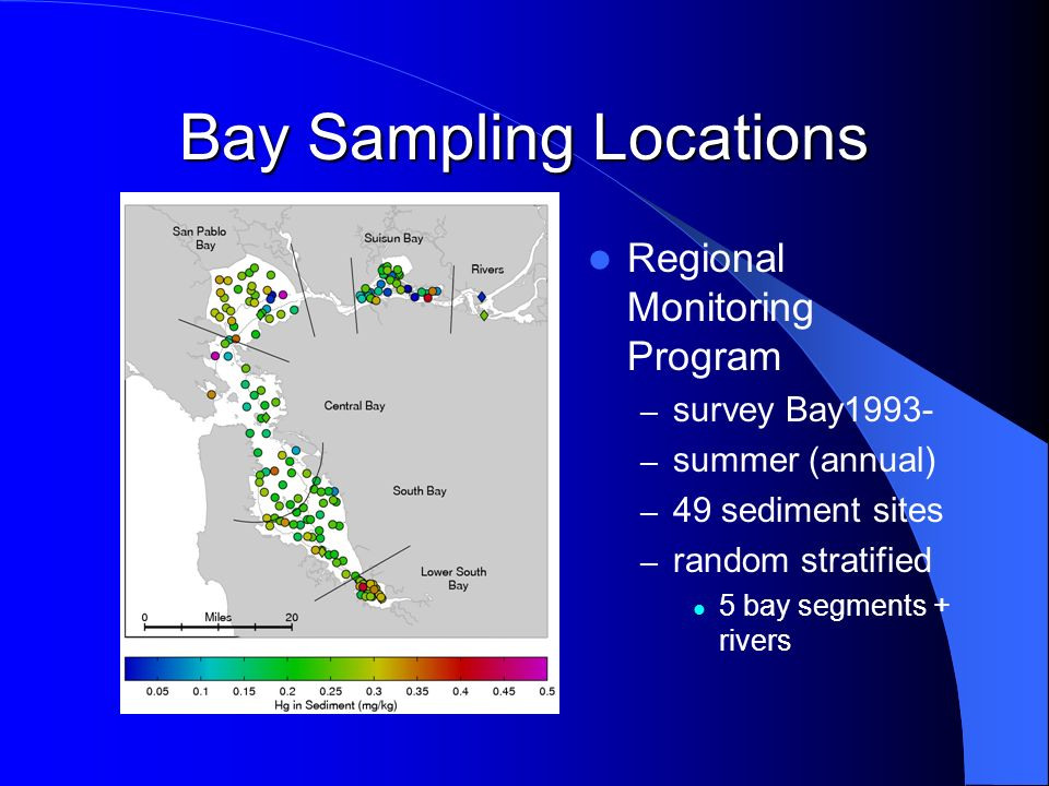 Bay Sampling Locations Regional Monitoring Program – survey Bay1993- – summer (annual) – 49 sediment sites – random stratified 5 bay segments + rivers