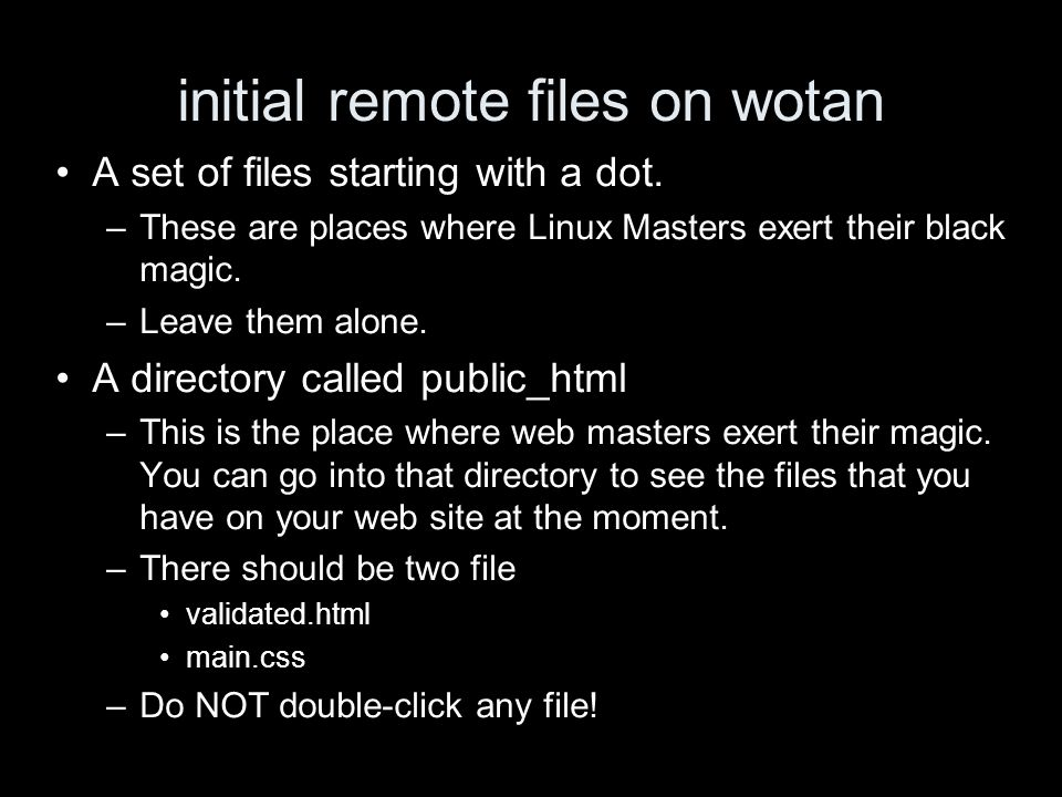 initial remote files on wotan A set of files starting with a dot. –These are places where Linux Masters exert their black magic. –Leave them alone. A