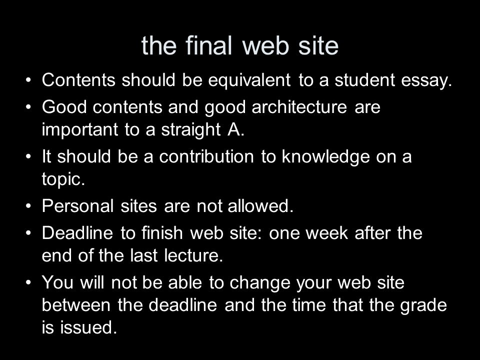 the final web site Contents should be equivalent to a student essay.