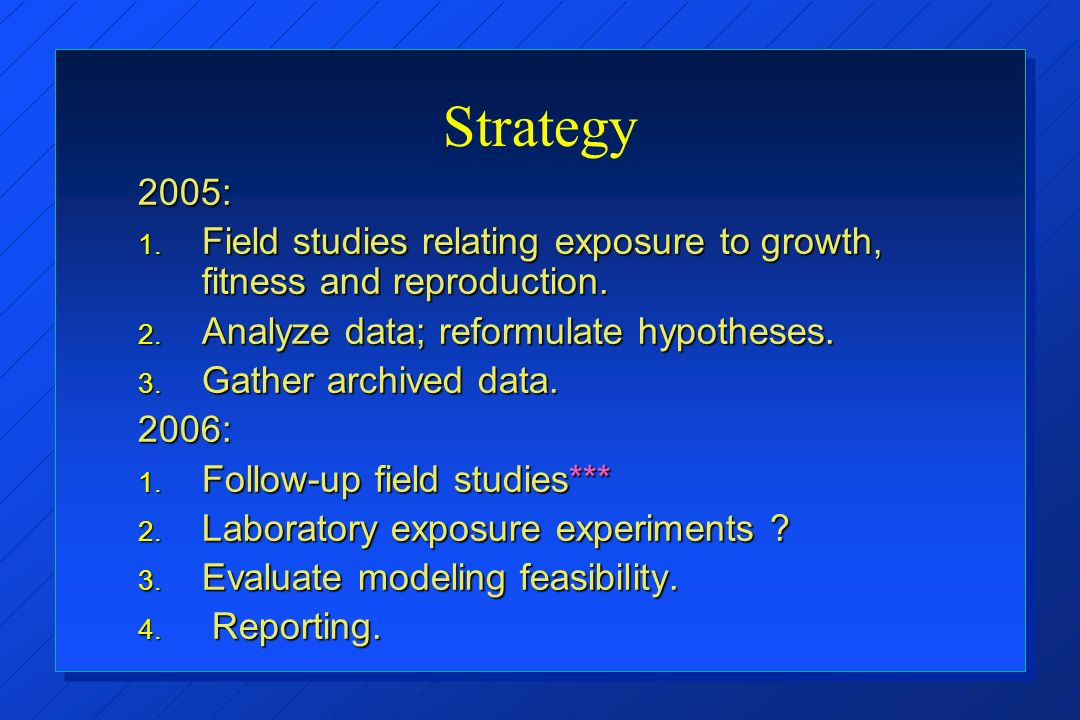 Strategy 2005: 1. Field studies relating exposure to growth, fitness and reproduction.