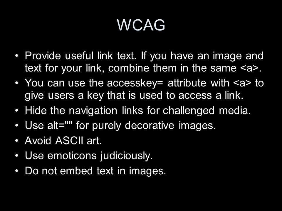 WCAG Provide useful link text.