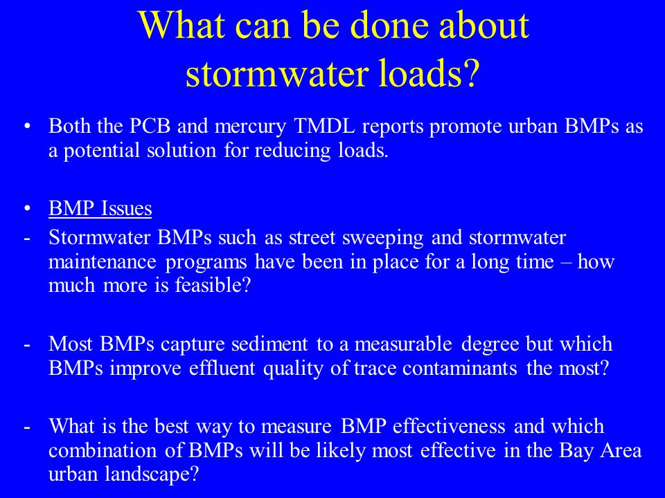 What can be done about stormwater loads.
