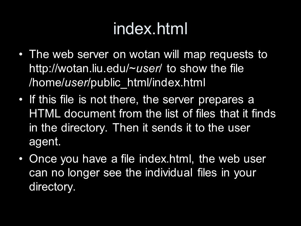 index.html The web server on wotan will map requests to   to show the file /home/user/public_html/index.html If this file is not there, the server prepares a HTML document from the list of files that it finds in the directory.