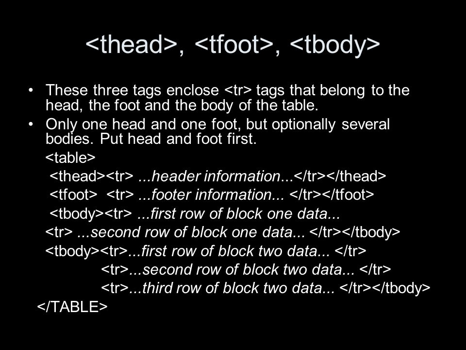 ,, These three tags enclose tags that belong to the head, the foot and the body of the table.