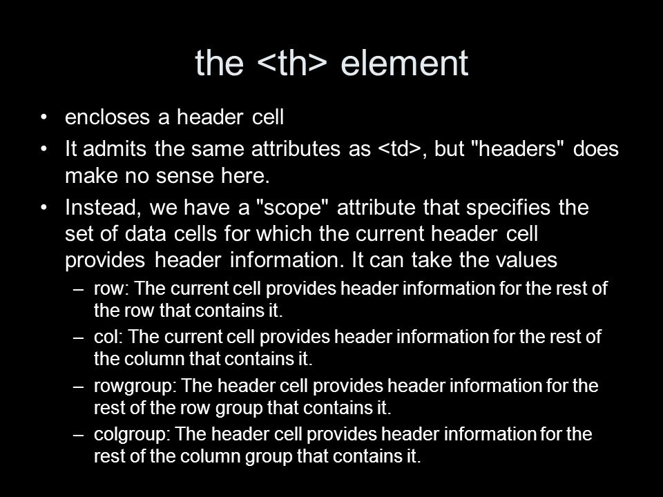 the element encloses a header cell It admits the same attributes as, but headers does make no sense here.