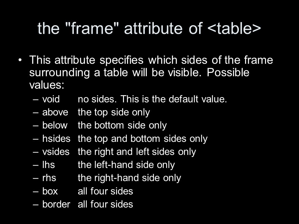 the frame attribute of This attribute specifies which sides of the frame surrounding a table will be visible.