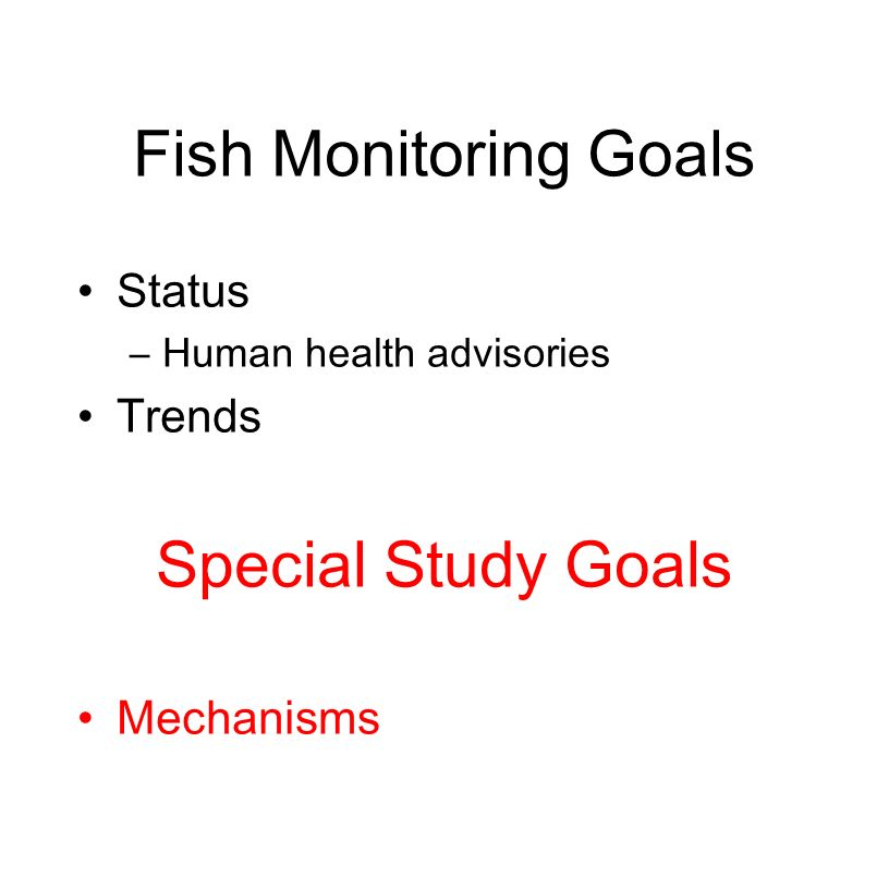Fish Monitoring Goals Status –Human health advisories Trends Special Study Goals Mechanisms