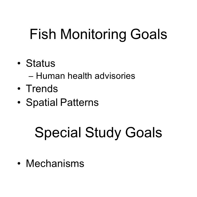 Fish Monitoring Goals Status –Human health advisories Trends Spatial Patterns Special Study Goals Mechanisms