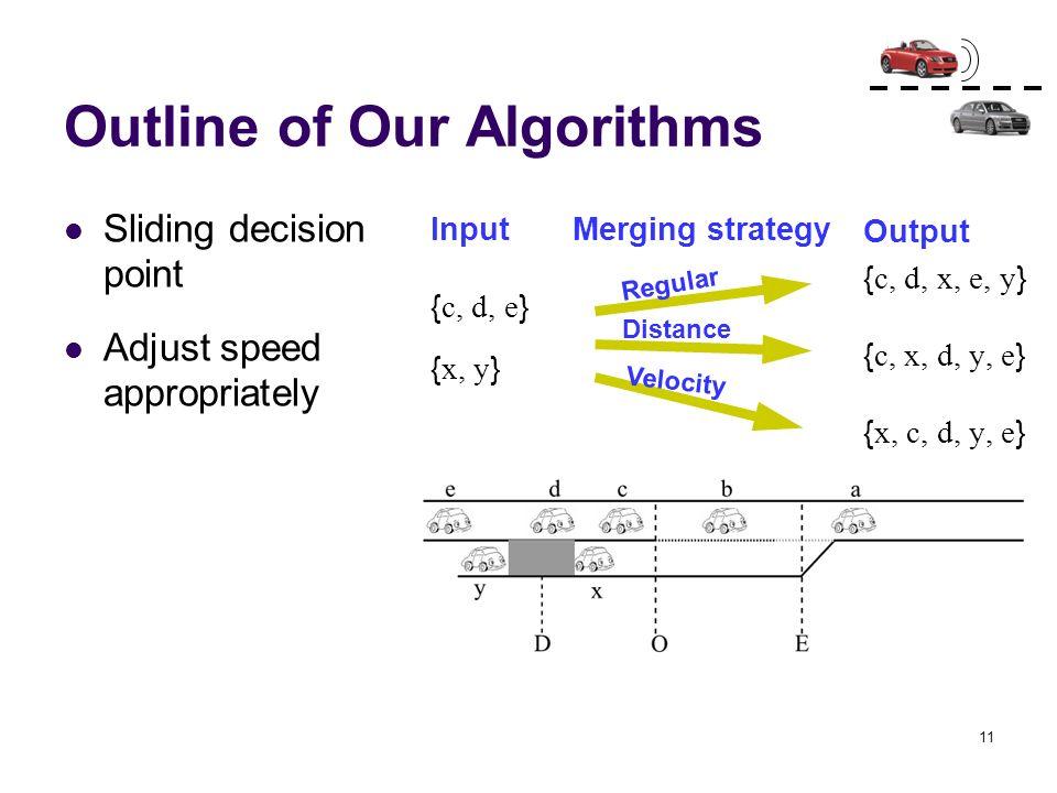 11 Outline of Our Algorithms Sliding decision point Adjust speed appropriately Output { c, d, x, e, y } { c, x, d, y, e } { x, c, d, y, e } Input { c,
