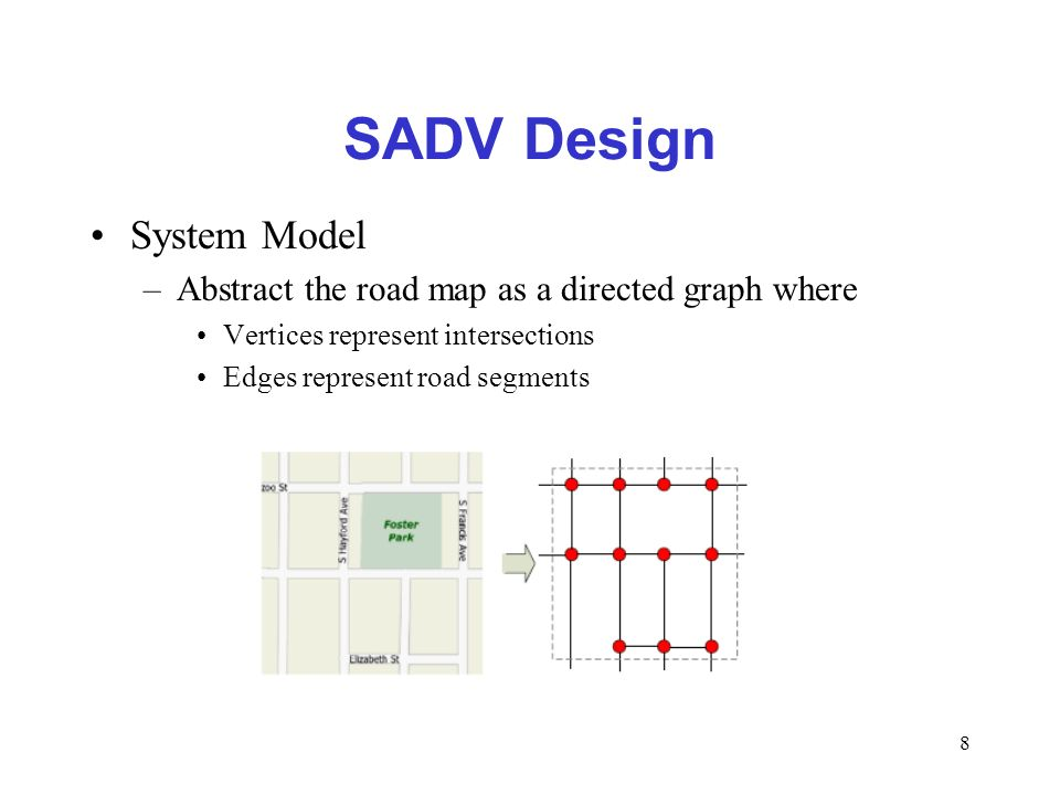 8 SADV Design System Model –Abstract the road map as a directed graph where Vertices represent intersections Edges represent road segments