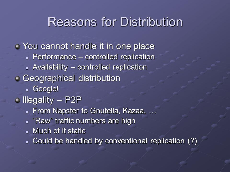 Reasons for Distribution You cannot handle it in one place Performance – controlled replication Performance – controlled replication Availability – co