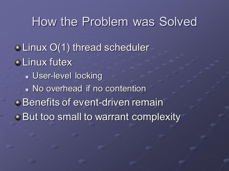 How the Problem was Solved Linux O(1) thread scheduler Linux futex User-level locking User-level locking No overhead if no contention No overhead if n