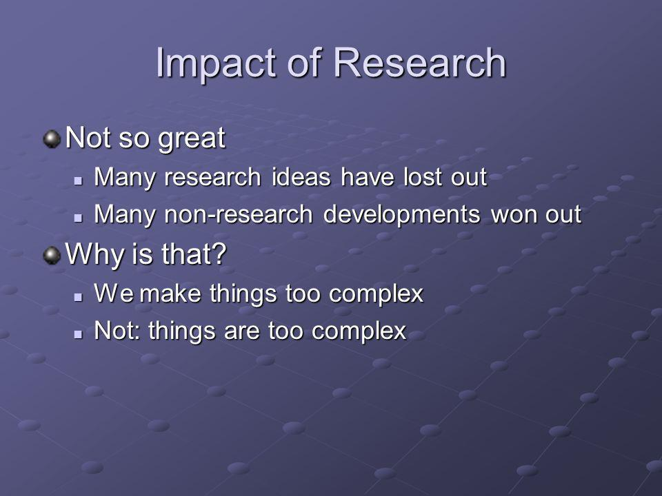 Impact of Research Not so great Many research ideas have lost out Many research ideas have lost out Many non-research developments won out Many non-re