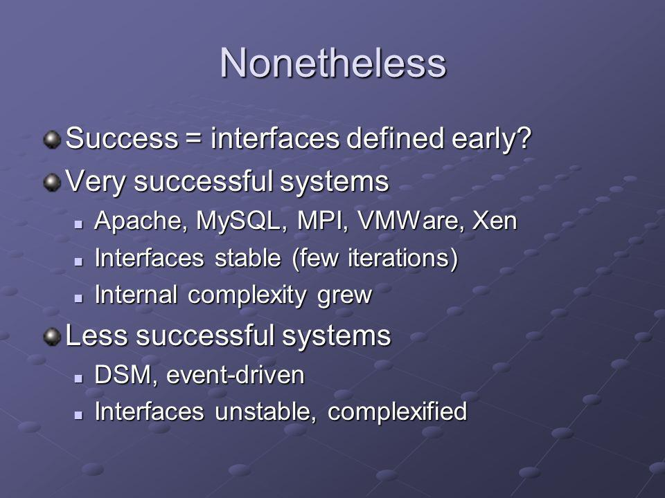 Nonetheless Success = interfaces defined early? Very successful systems Apache, MySQL, MPI, VMWare, Xen Apache, MySQL, MPI, VMWare, Xen Interfaces sta