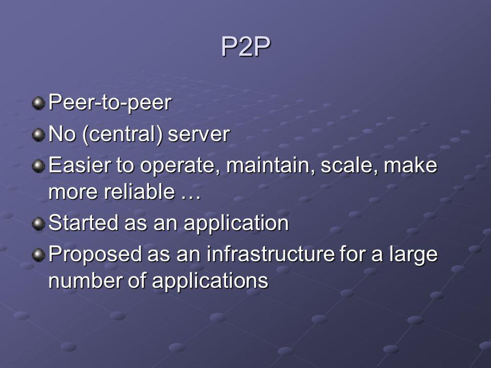 P2P Peer-to-peer No (central) server Easier to operate, maintain, scale, make more reliable … Started as an application Proposed as an infrastructure