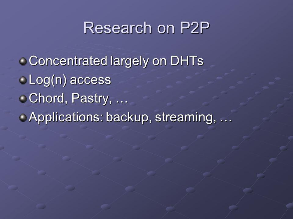 Research on P2P Concentrated largely on DHTs Log(n) access Chord, Pastry, … Applications: backup, streaming, …