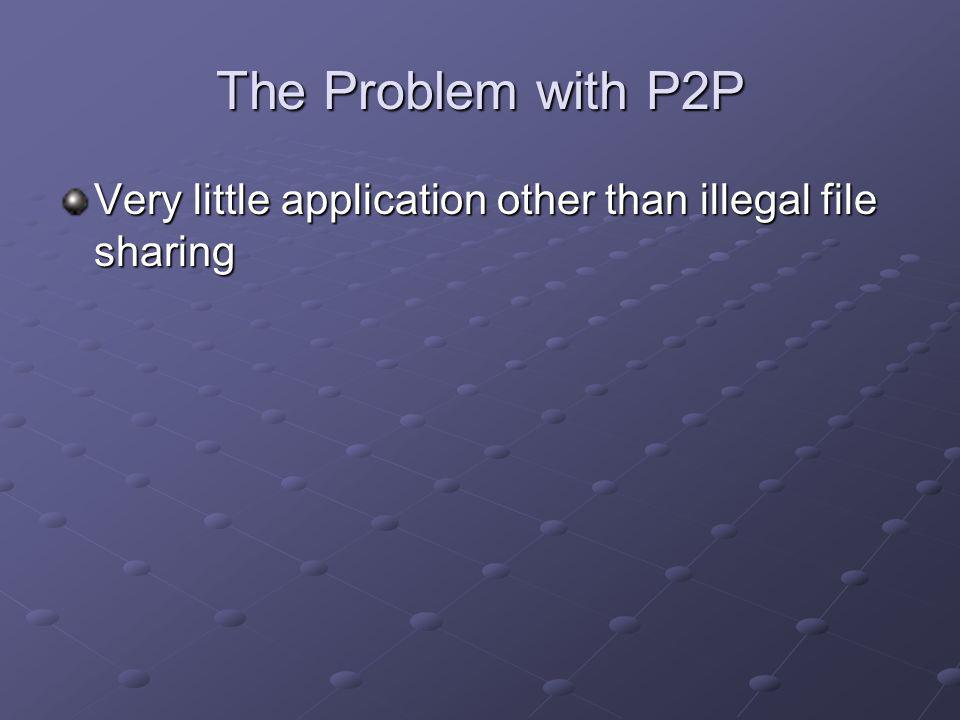The Problem with P2P Very little application other than illegal file sharing