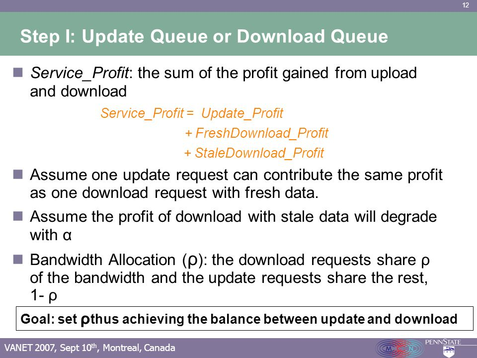12 VANET 2007, Sept 10 th, Montreal, Canada Step I: Update Queue or Download Queue Service_Profit: the sum of the profit gained from upload and download Service_Profit = Update_Profit + FreshDownload_Profit + StaleDownload_Profit Assume one update request can contribute the same profit as one download request with fresh data.