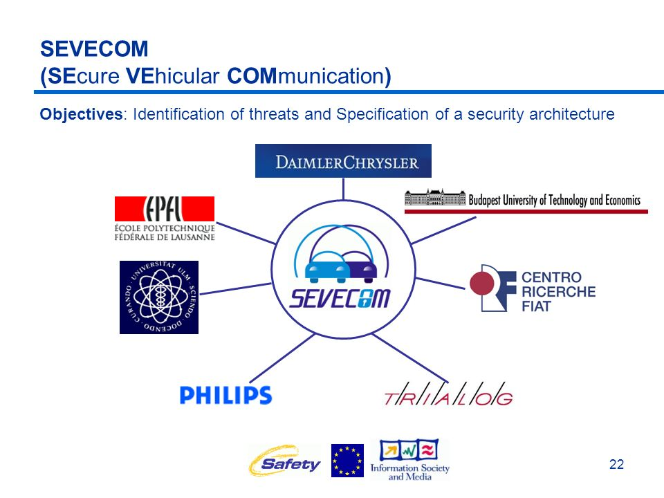 22 SEVECOM (SEcure VEhicular COMmunication) Objectives: Identification of threats and Specification of a security architecture