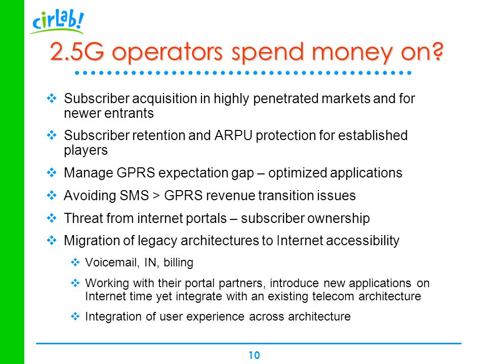 10 2.5G operators spend money on? Subscriber acquisition in highly penetrated markets and for newer entrants Subscriber retention and ARPU protection