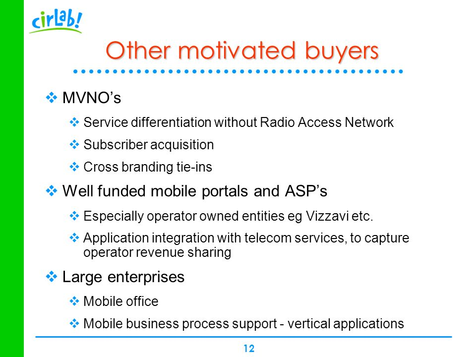 12 Other motivated buyers MVNOs Service differentiation without Radio Access Network Subscriber acquisition Cross branding tie-ins Well funded mobile