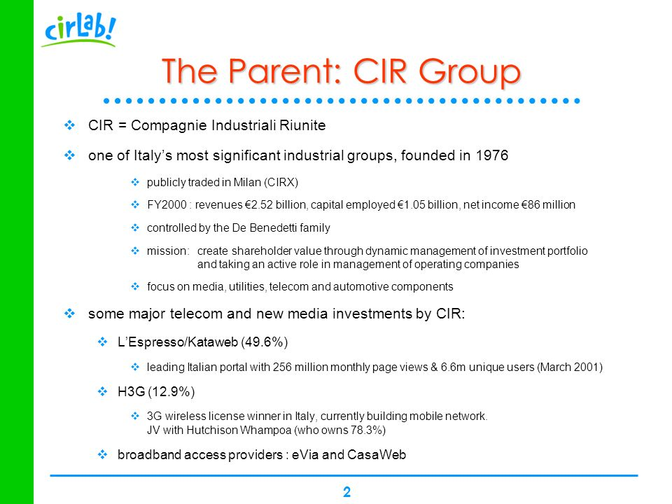 2 The Parent: CIR Group CIR = Compagnie Industriali Riunite one of Italys most significant industrial groups, founded in 1976 publicly traded in Milan