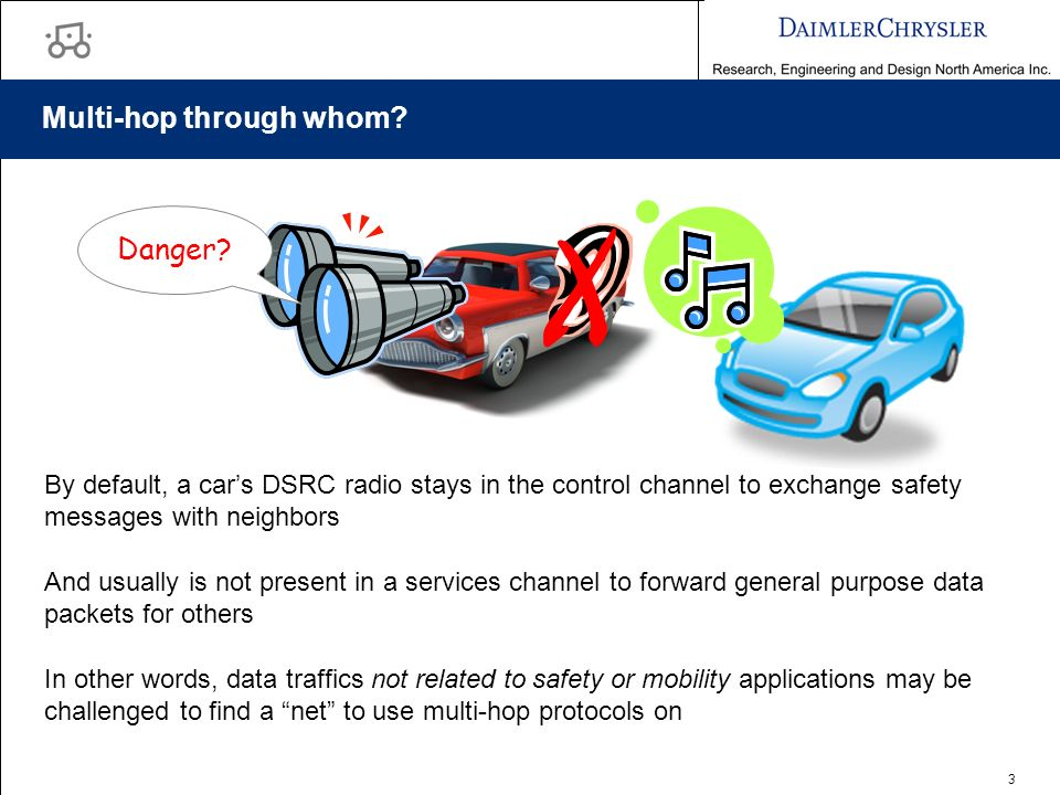 3 Multi-hop through whom? By default, a cars DSRC radio stays in the control channel to exchange safety messages with neighbors Danger? X And usually
