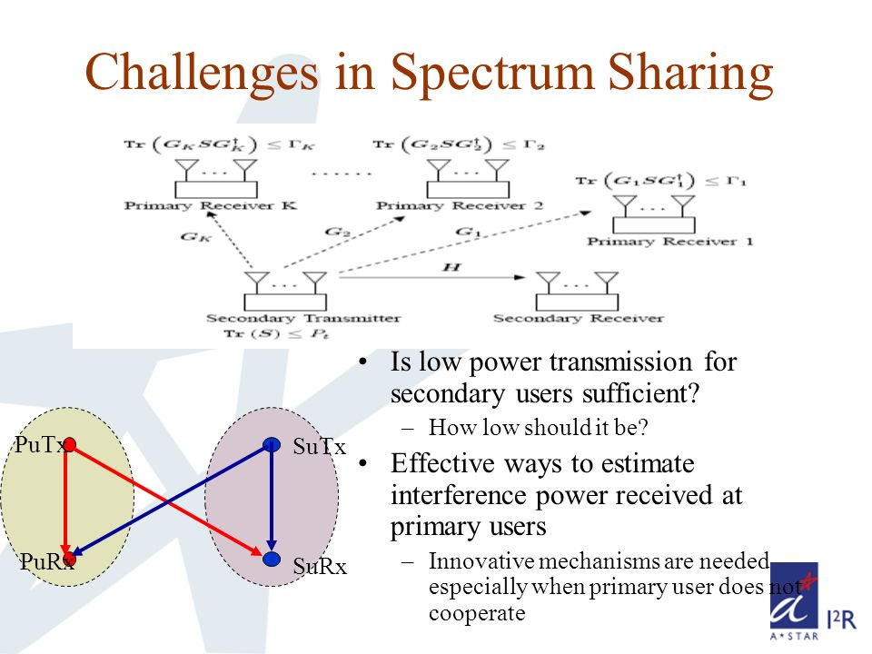 Challenges in Spectrum Sharing Is low power transmission for secondary users sufficient.
