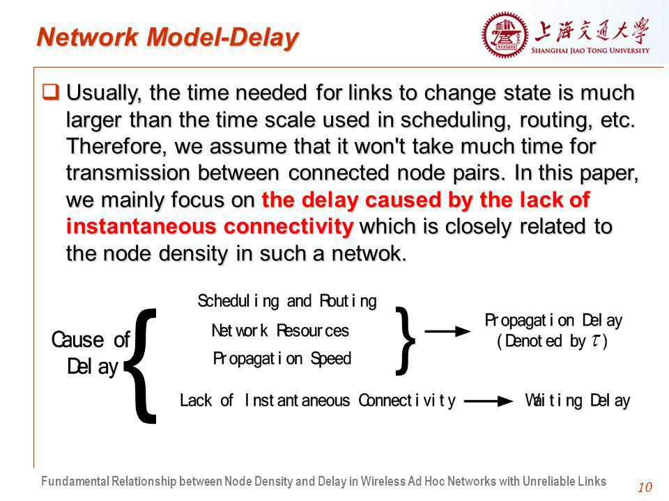 10 Network Model-Delay Usually, the time needed for links to change state is much larger than the time scale used in scheduling, routing, etc.