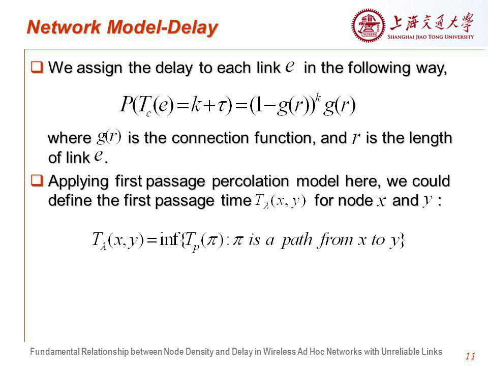 11 Network Model-Delay We assign the delay to each link in the following way, We assign the delay to each link in the following way, where is the connection function, and is the length of link.