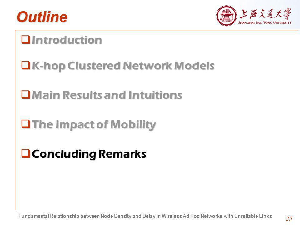25 Outline IntroductionIntroduction K-hop Clustered Network ModelsK-hop Clustered Network Models Main Results and IntuitionsMain Results and Intuitions The Impact of MobilityThe Impact of Mobility Concluding RemarksConcluding Remarks Fundamental Relationship between Node Density and Delay in Wireless Ad Hoc Networks with Unreliable Links