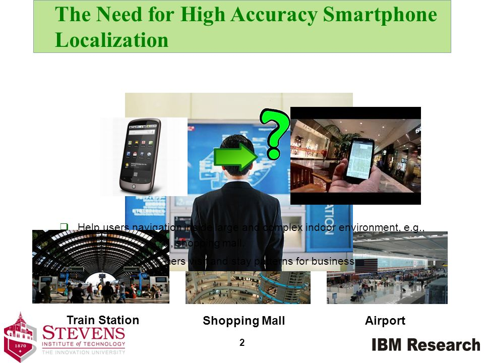 The Need for High Accuracy Smartphone Localization Shopping Mall Airport Help users navigation inside large and complex indoor environment, e.g., airp