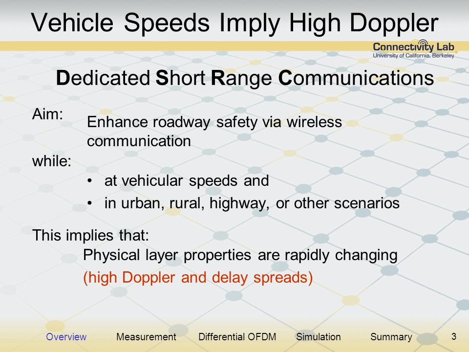 3 Vehicle Speeds Imply High Doppler at vehicular speeds and in urban, rural, highway, or other scenarios Dedicated Short Range Communications Aim: Enh